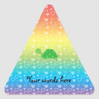 Rainbow hearts baby turtle triangle sticker