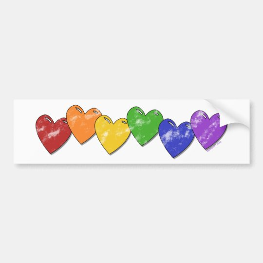 Rainbow Hearts Bumper Sticker
