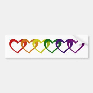 Rainbow Hearts Car Bumper Sticker