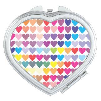 Rainbow Hearts Compact Mirror
