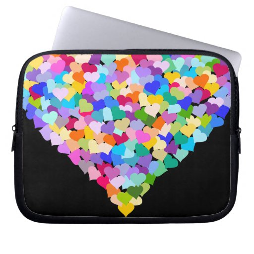 Rainbow Hearts Confetti laptop case Laptop Sleeve