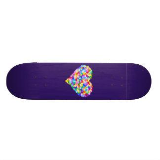 Rainbow Hearts Confetti Skate Deck