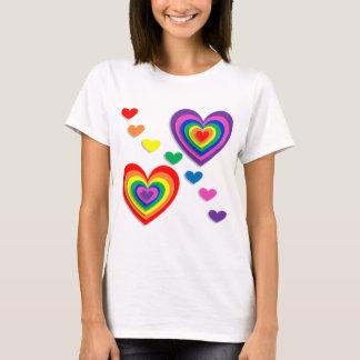 Rainbow Hearts, Durable & Comfortable T-Shirt
