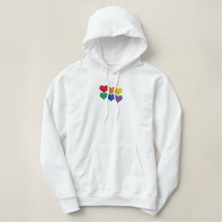 Rainbow Hearts Embroidered Hoodie