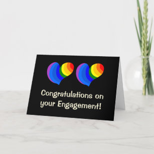 Rainbow Hearts Engagement Card for a Gay Couple
