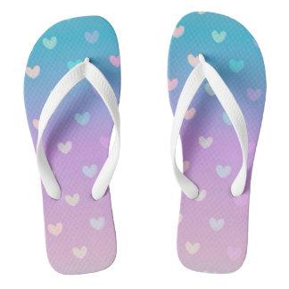 Rainbow  Hearts Flip Flops