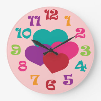 Rainbow Hearts Girls Wall Clock