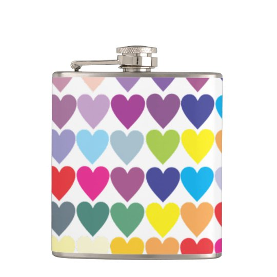 Rainbow Hearts Hip Flask