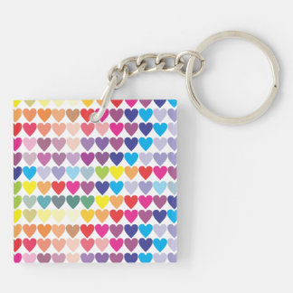 Rainbow Hearts Key Ring