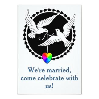 """Rainbow Hearts Love Dove Gay Reception Invitation 5"""" X 7"""" Invitation Card"""