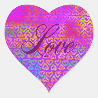 Rainbow hearts love heart sticker