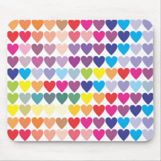 Rainbow Hearts Mouse Pad