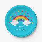Rainbow Hearts Paper Plates
