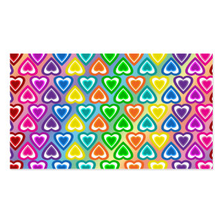 Rainbow hearts pattern business cards
