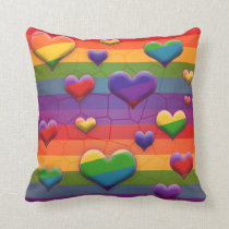 Rainbow Hearts Pattern Cushion