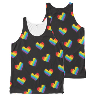 Rainbow Hearts Pattern LGBT Pride All-Over Print Tank Top