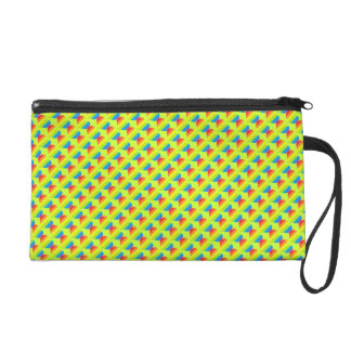 Rainbow hearts pattern on lime yellow wristlet purse