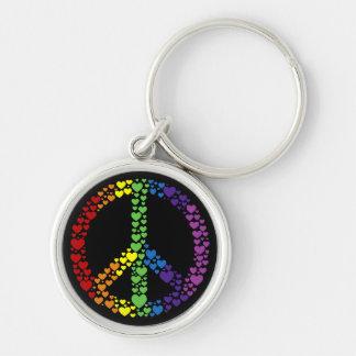Rainbow Hearts Peace Sign Keychain