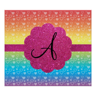 Rainbow hearts pink glitter monogram posters