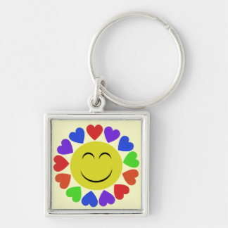 Rainbow Hearts Silver-Colored Square Key Ring