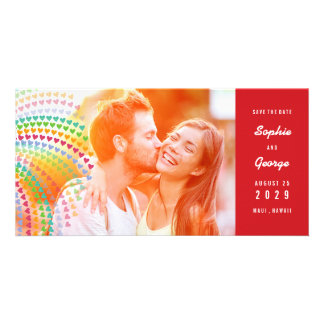 Rainbow Hearts Sprinkles Photo Save The Date Photo Greeting Card