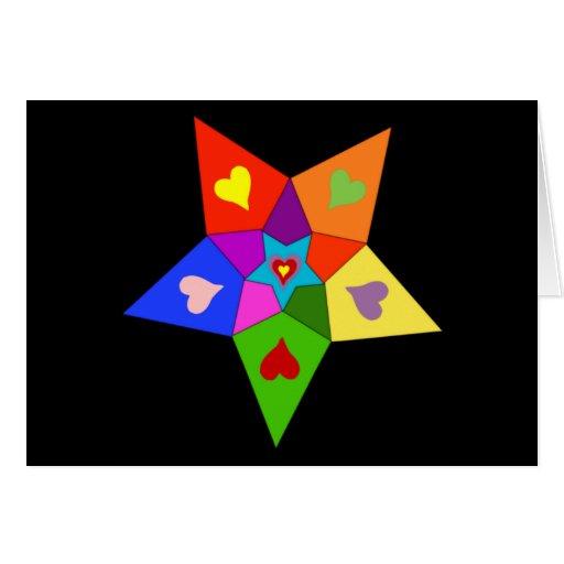 Rainbow Hearts Star Greeting Cards
