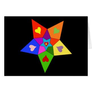 Rainbow Hearts Star Note Card