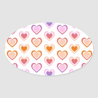 Rainbow hearts oval sticker