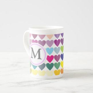 Rainbow Hearts Tea Cup