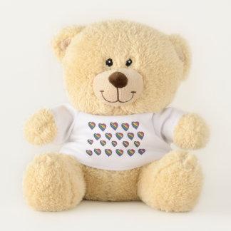Rainbow Hearts Teddy Bear