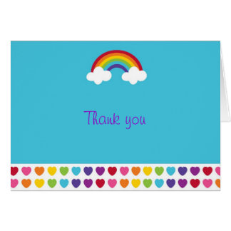 Rainbow Hearts Thank You Note Cards