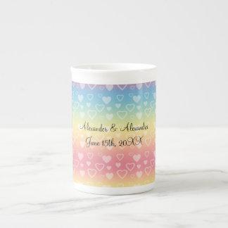Rainbow hearts wedding favors porcelain mug