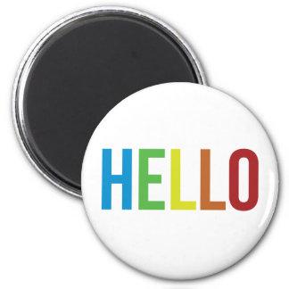 Rainbow Hello 6 Cm Round Magnet