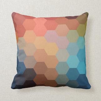Rainbow Hexagon Chevron Pattern Throw Pillow