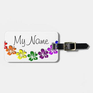 Rainbow hibiscus flower luggage tag