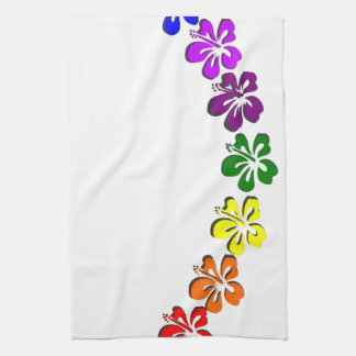 Rainbow hibiscus flower tea towel