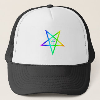 Rainbow Homosexual Female Inverted Pentagram Trucker Hat