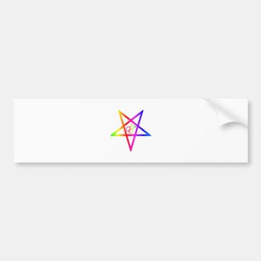 Rainbow Homosexual Male Inverted Pentagram Bumper Stickers