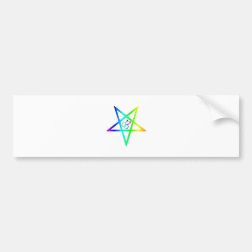Rainbow Homosexual Male Inverted Pentagram Bumper Sticker