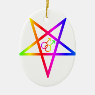 Rainbow Homosexual Male Inverted Pentagram Christmas Ornament