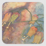 Rainbow honeysuckle flowers square stickers