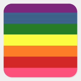 Rainbow Horizontal Stripes Square Sticker