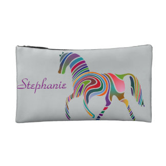 Rainbow horse design on bag cosmetic bags