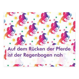 Rainbow horse map postcard