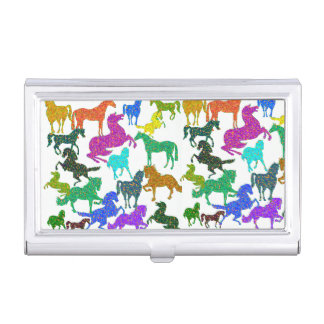 """Rainbow Horses - """"Dotty about Horses!"""" Business Card Holder"""