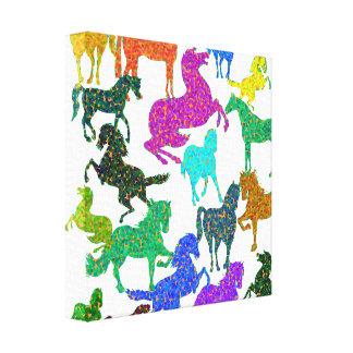 """Rainbow Horses - """"Dotty about Horses!"""" Canvas Print"""