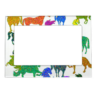 "Rainbow Horses - ""Dotty about Horses!"" Magnetic Picture Frame"