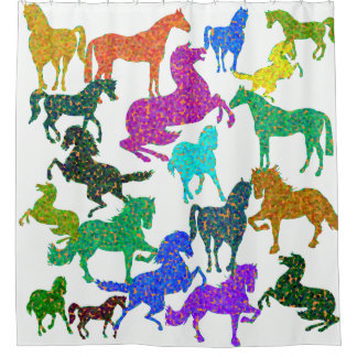 "Rainbow Horses - ""Dotty about Horses!"" Shower Curtain"