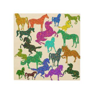 "Rainbow Horses - ""Dotty about Horses!"" Wood Print"