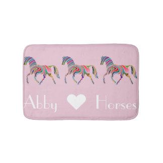 Rainbow Horses on Pink Bath Mat